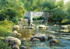Artist Richard Thorn 'Fingle Bridge, Devon' Watercolor - wonderful water texture