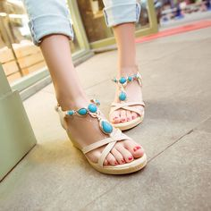 Find More Sandals Information about 2015 New Fashion Woman Sandals Bohemia Cool Beads Open Toe Wedge Sandals Mid Heel Women Summer Platform Shoes,High Quality shoe companies in us,China sandals slingback Suppliers, Cheap sandals not shoes from Good-seller on Aliexpress.com
