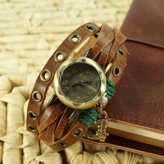 Leather Wrap Watch - Brown Leather Wrap Bracelet Watch - Leather Wrist Watch with a Cowboy Boot Charm