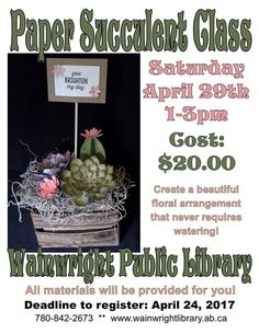 Paper Succulent Class at WPL