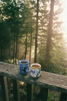 Drink hot coffee on a cottage deck or dock