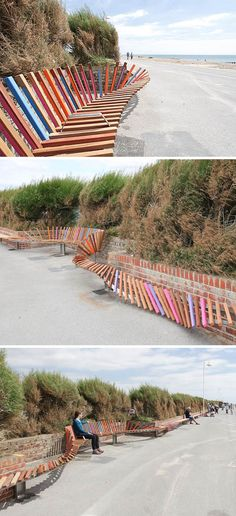 Snow fence bench! This stuff is so hard to put up on the beach and even harder to take down.