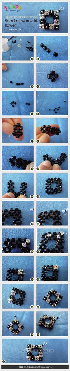 Square pendant necklace - bead a swarovski flower