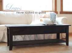 DIY build a beautiful coffee table that converts to lego/toy train storage.