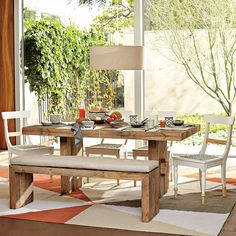Emmerson® Reclaimed Wood Dining Table - Reclaimed Pine Emmerson Reclaimed Wood Dining Bench and White Bench Cushion West Elm, Asian Room, Dining Room Bench, Dining Rooms, Dining Tables, Kitchen Tables, Kitchen Ideas, Kitchen Design, Reclaimed Wood Beds