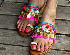 Lace Up sandals Gladiator Sandals Boho Hippie sandals Women Pom Pom Sandals, Tie Up Sandals, Bridal Sandals, Cute Sandals, Roman Sandals, Gladiator Sandals, Leather Sandals, Jaipur, Boots Boho