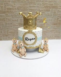 Baby First Birthday Cake, Prince Birthday Party, Gold Birthday Cake, Mini Tortillas, Torta Angel, British Cake, Christening Cake Boy, Metallic Cake, Prince Cake