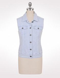 $30  Striped Stretch Denim Vest   cotton