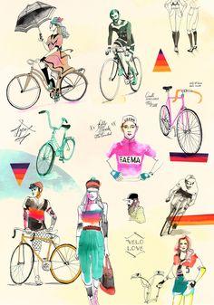 Velo Love by Eili-Kaija Kuusniemi — Agent Pekka Bicycle Art, Old Maps, Bike Life, Illustrators, Art Drawings, Stamp, Watercolor, Love, Artist