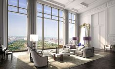 """Great room of a planned residential tower in NYC overlooking Central Park. parsnippityjim: """"This is 220 Central Park South, recently confirmed to be over (original plan called for Appartement New York, Appartement Design, Central Park, Cool Apartments, Luxury Apartments, Luxury Penthouse, Manhattan Apartment, Parisian Apartment, Upper West Side"""