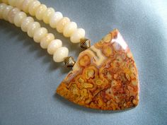 Crazy lace agate pendant necklace with by JewelrybySandeeGee, $78.00