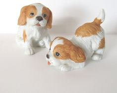 Vintage porcelain dogs  puppy figurines  by ConMisManosVintage
