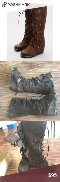 🔥SALE🔥 sorel cate the great brown wedge Size 7. Do not come with original box. Super comfortable and beautiful leather! Great condition. Bundle with 2 more items in my closet for 30% off! Send offers! Sorel Shoes Lace Up Boots
