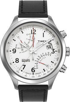 Timex Men's T2N701 Intelligent Quartz SL Series Fly-Back Chronograph White Dial Black Leather Strap Watch $85.82