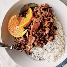 Brazilian Feijoada  Feijoada (pronounced fay-ZWAH-da) is a delicious stew of pork and black beans that's traditionally served over rice with fresh orange slices. In Brazil, this dish is often served on special occasions, but preparing it in a slow cooker makes it possible to serve this rich dish on the busiest weeknights.