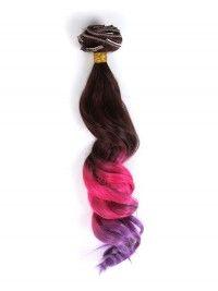 Braun nach Rosa nach Lila Bunte Clip In Hair Extensions CD008