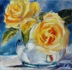 """Daily Paintworks - """"Deux roses jaunes"""" - Original Fine Art for Sale - © Evelyne Heimburger Evhe"""