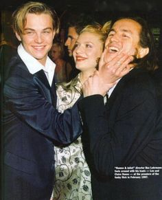 From left to right : Leonardo DiCaprio, Claire Danes and a man at the Premiere of Romeo + Juliette (1996).