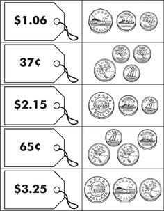 Canadian Money Math Games- link does not seem active but idea is good. Math For Kids, Fun Math, Math Activities, Money Math Games, 3rd Grade Math, Grade 2, Teaching Money, Money Worksheets, Math Talk