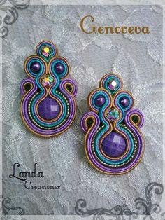 Genoveva  Por Landa Creaciones  Popayán - Colombia Soutache Earrings, Shibori, Earrings Handmade, Diy Jewelry, Jewerly, Bracelets, Tela, Bijoux, Necklaces