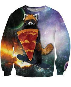 Red Panda Pizza Bandit Crewneck Sweatshirts | Mopixiestore.com