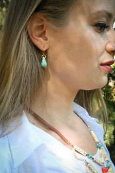 Hey, I found this really awesome Etsy listing at https://www.etsy.com/listing/230111961/turquoise-teardrop-earrings-simple-brass