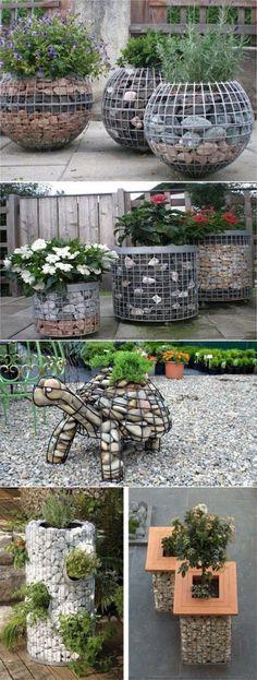 Габион — интересная идея для декора, или что можно сотворить из сетки и камней.