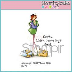 Stamping Bella Rubber Stamp - Uptown Girls Bailey Has A Baby