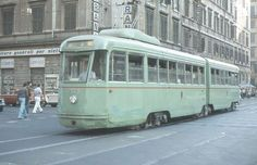 Tram in Rome, 1980. From the 1930s, Rome trams were green This changed to orange from the 1970s.