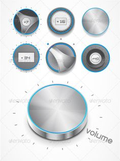 Buy Volume knobs by antishock on GraphicRiver. Collection of vector volume knobs with blue light Gas Supply, Ecommerce Logo, Evolution T Shirt, Practical Gifts, Logo Images, Graphic Prints, Typography Design, How To Draw Hands, Web Design