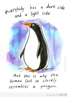 Well actually her lovely husband. Lutton Keithler Everyone has a dark side and a light side. And this is why the human soul most closely resembles a penguin Penguin Quotes, Penguin Art, Happy Penguin, Funny Penguin, Penguin Parade, Penguin Tattoo, Penguin Pictures, Funny Pictures, Random Pictures