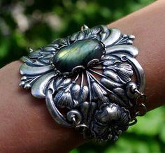 Silver+bracelet+Gothic+jewelry+Labradorite+Bridal+by+RosaryBlue,+$110.00