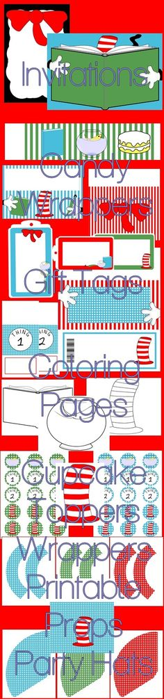 Cat In The Hat Inspired Printable Party Supplies - Cat Bow Hat - $15.99 : ScrapPNG, Digital Craft Graphics