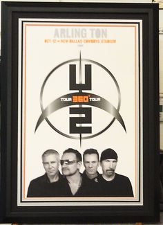 Custom framed U2 poster 2