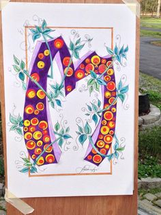 """Paper, ink, watercolor, celtic style lettering """"M' by Laura N. Murphy 2015"""