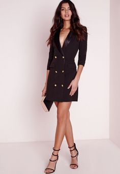 Long Sleeve Tux Dress Black - Dresses - Blazer Dresses - Missguided