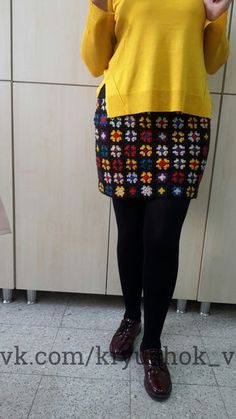 Fotoğraf Granny Square Häkelanleitung, Granny Square Crochet Pattern, Crochet Squares, Hippie Crochet, Diy Crochet, Crochet Skirts, Crochet Clothes, Crochet Lingerie, Crochet Sunflower
