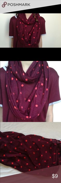 Polkadot Winter Wine Infinity Scarf Wine colored infinity scarf. 100% polyester. Machine washable. Great to brighten up those dreary winter days. From a smoke free, pet free home. Brand new, with tags. Old Navy Accessories Scarves & Wraps