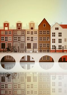 Stanley Chow Illustration Amsterdam My new print City Illustration, Digital Illustration, Illustration Styles, Simple Illustration, Stanley Chow, Amsterdam Houses, Amsterdam Art, Manchester England, Manchester United