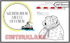 Werkbladen tafels oefenen thema Sinterklaas.