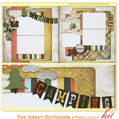The Great Outdoors scrapbooking layout kit complete with instructions by PaisleysandPolkaDots.com for a limited time (featured at www.scrapclubs.com)