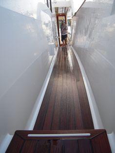 Teak detailing on a yacht by Sunshine Detailing. www.sundetailing.com