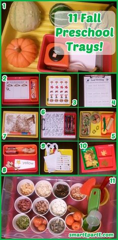 11 Fall Preschool Trays! Sort, find, match, measure and more!