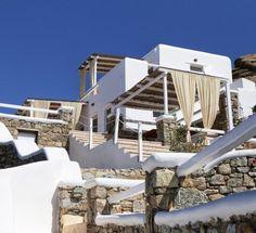 Vacation Villas, Mykonos, Outdoor Furniture, Outdoor Decor, Sun Lounger, House Styles, Home Decor, Home, Chaise Longue