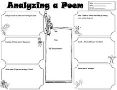 Graphic Organizer for student to analyze a poem & its elements.  Grades 4+