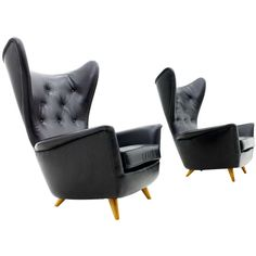 Leather Wing Chair, 1950s, Elegant Lounge Chair | From a unique collection of antique and modern wingback chairs at http://www.1stdibs.com/furniture/seating/wingback-chairs/