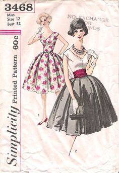 1960 Simplicity 3468 V-neck and Back Cocktail Dress Sewing Pattern, offered on Etsy by GrandmaMadeWithLove