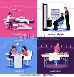 Stock Photo: Beauty salon people concept with various relax stylish and cosmetic procedures in flat style isolated illustration