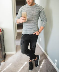 Casual outfit of the day  @originalpenguin sweater #distressed jeans #camouflage @nike roshe one [ http://ift.tt/1f8LY65 ]