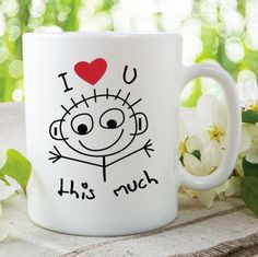 Items similar to Printed Ceramic Mug I Love You This Much Mug Gift For Girlfriend Boyfriend Grandma Anniversary Wedding Birthday Christmas Present on Etsy Funny Coffee Cups, Coffee Mugs, Rude Mugs, Wedding Mugs, Valentines Mugs, Fathers Day Mugs, Work Gifts, Birthday Mug, Friend Mugs